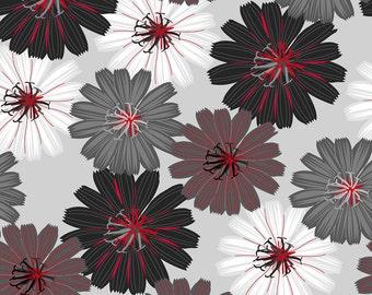 Wilmington Prints - Cherry Pop - Packed Dahlias Lt. Gray - Cotton Woven Fabric