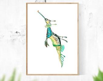 Seahorse Wall Art, Printable Digital Download, Wall Art, Ocean Art, Sea Art, Home Decor, Blue Art, Nautical Art
