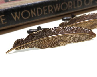 Antiqued Brass Feather Cufflinks - Soldered Cuff Links - Harry Potter wingardium leviosa