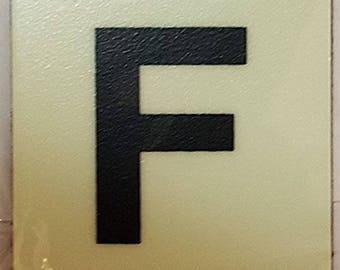 """Photoluminescent Door Identification Number F Sign Heavy Duty / Glow In The Dark """"Door Number"""" Sign Heavy Duty (Aluminum Sign 1.5 X 1.5)"""