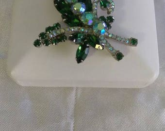 Vintage Weiss brooch unsigned 1930s emerald green and Aurora borealis rhinestones St Patrick's day