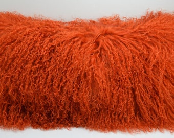 Tangerine Orange Mongolian tibetan Lamb fur Pillow new made in usa authentic tibet cushion insert included