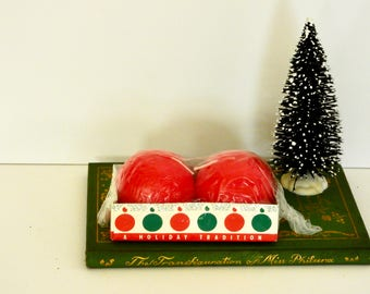 Vintage Red Ball Candles- Germany