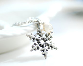 Snowflake Necklace, Silver Snowflake, Winter Jewelry, Winter Necklace, Charm Necklace, Icy, Frost, Sterling Silver Chain, Snow - First Snow