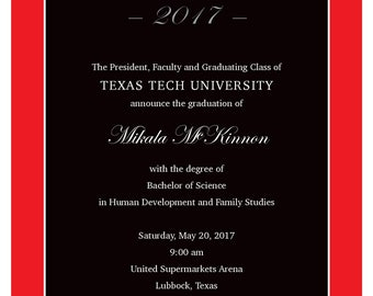 Mickey minnie mouse inspired graduation party invitations texas tech graduation announcements and envelopes with free shipping filmwisefo