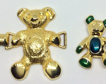 Vintage Gold Teddy Bear Brooch and Buckle