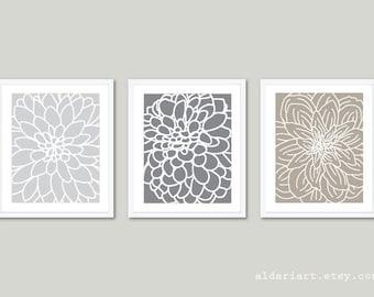 Flowers Prints, Flower Wall Art, Dahlia Print Dahlia Wall Art, set of 3 prints, frames not included, custom colors, aldari art