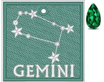 Gemini Zodiac FSL Bookmark - Book Lovers Gift - FSL - Embroidery Design - Multiple Formats