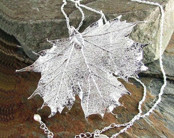 Silver Maple Leaf Necklace Sterling Silver Genuine Maple Leaf Pendant Necklace Botanical Nature Necklace Autumn Harvest Fall Fashion