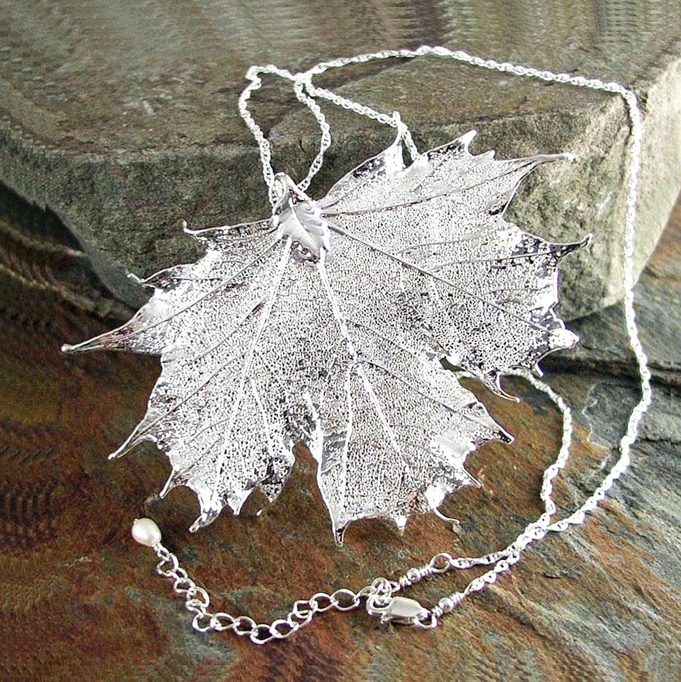 Silver maple leaf necklace sterling silver genuine maple leaf zoom mozeypictures Image collections