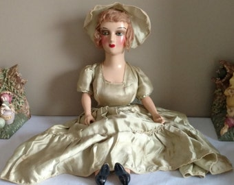 """Antique Boudouir 26"""" Composition Head and Shoulder, Lower Arms & Legs w/Eyelashes!"""