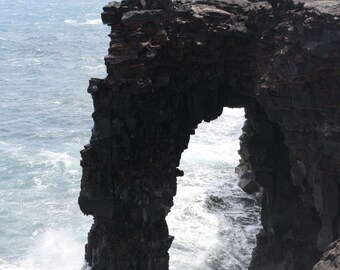 Sea arch in ocean photograph or canvas print, 5x7, 8x10, 11x14, 16x20, Volcanoes National Park, Big Island, HI