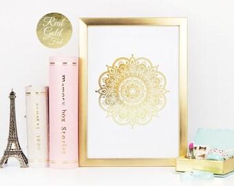 Mandala Print, Gold Mandala, Real Gold Foil, Geometric Poster, Minimal Wall Art, Mandala Wall Art, Hindu Decor, Real Gold Foil Mandala, 8x10