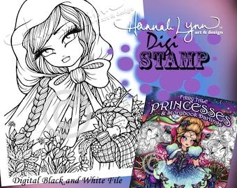 PRINTABLE Digi Stamp Red Riding Hood To Grandmother's House Coloring Page Fun Fantasy Art Hannah Lynn