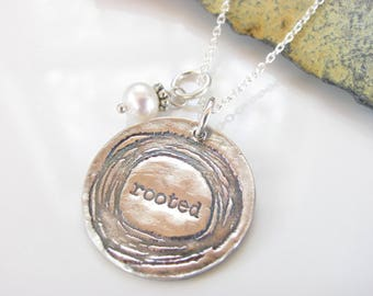 Silver Necklace - Rooted - Fine Silver Pendant - Inspirational Necklace - Quote Jewelry - Beth Cole - Rooted Necklace - Made to Order