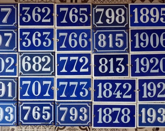 Vintage enamel house numbers - french door number / blue enamel / street numbers / Street / Magic' chip