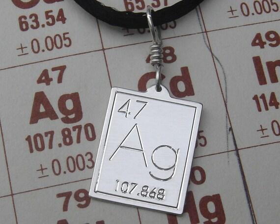 Silver periodic table pendant atomic symbol for silver urtaz Image collections