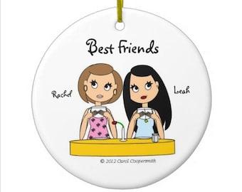 Best Friends Acrylic Christmas Ornaments Personalized - Brunette, Blonde, Auburn, Black Hair, African American