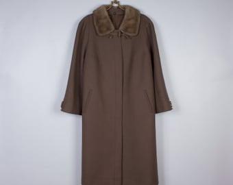 Vintage 80's Brown Coat Wool Coat Women's Coat Cafe Latte Long Coat with Beige Mink Fur Collar Size Large