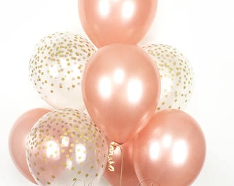 ROSE GOLD Balloon Bouquet - Mix of 8 Latex Balloons in Rose Gold and Confetti-Printed Balloons - Rose Gold Balloons, Confetti Balloons