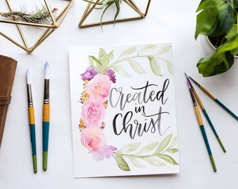 Created in Christ Floral Wreath Watercolor Print