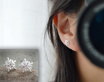 Earrings studs Sterling Silver 925 Queen snow, snow, delicate snowflake. Everyday jewelry. Stud Earrings Silver 925