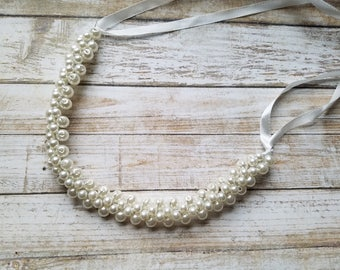 SALE - Wedding Headband,  Pearl Headband- Style H3027