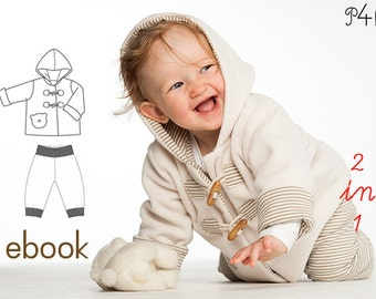 Sewing Pattern duffle coat and pants, baby clothes, Bundle Jacket, Boys + Girls, PDF Pattern Download,