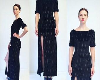 30%OFF Vtg 80s Black Velvet Faux Fur Silver Maxi Glam Dress