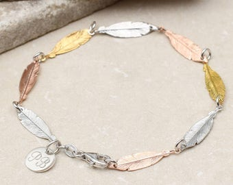 Personalised Sterling Silver And Gold Feather Bracelet (HBB72)