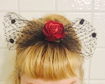 Chenille Dot French Netting Bow with Rosette ~ Barrette ~ Pin Up