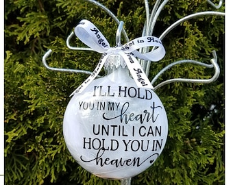 Miscarriage Ornament - In Loving Memory Infant Loss Gift, Baby Memorial Feather Christmas Ornament SIDS Personalized Add Name & Date