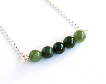 Nephrite Jade Necklace Natural Russian Jade Sterling Silver Chain Natural Stone Shaded Light Olive Green Dark Forest Green Necklace  #18626
