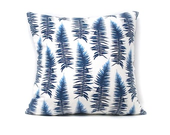 SWORD FERN Throw Pillow  | Blue & White | Custom Design Fabric | 18X18 | A Portion of Proceeds go to Charity