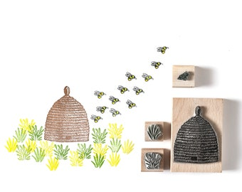 Bee Hive and Tiny Bee Rubber Stamps, Beehive Stamp, Bee Stamp, noolibird stamps, Wooden Stamp, Art Stamp, nature stamp, beekeepers stamp