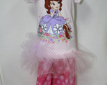 Disney, Princess, Sofia, Sofia shirt, Princess shirt, Disney shirt, lavender, pink, ruffle pants, girl birthday, birthday, t shirt, tshirt