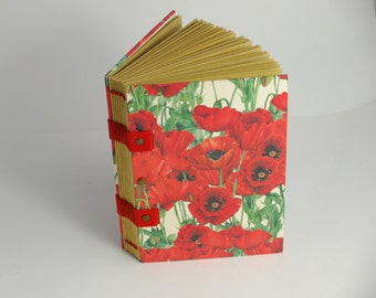 Notebook or diary, poppies, Coptic binding, sheets kraft, pregnancy journal, travel