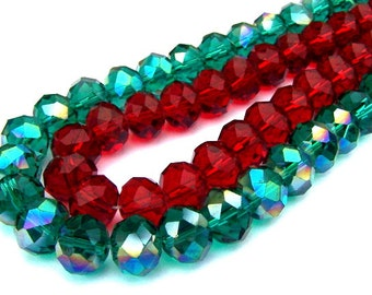 20 red and green 10mm crystal beads, Christmas beads, sparkly Chinese crystal, 10x7mm holiday rondelle beads, 10 of each