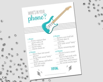 What's In Your Phone Game - Rockstar Baby Shower - Guitar and Lightning Bolts - Stripes - Teal Turquoise Gray - INSTANT DOWNLOAD - Printable
