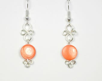 Coral Lip Shell with Silver Wirework Earrings