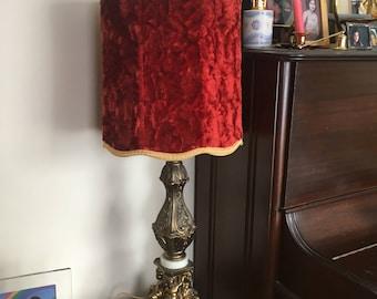 Huge Vintage Hollywood Regency Cherub Gold Gilt with Red Velvet  Lamp