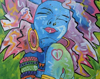 Rythm,Oil paint,African paintings,African art,Hand painting.