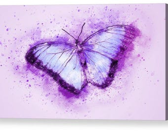 Abstract Butterfly Purple Canvas Box Art A4, A3, A2, A1 ++