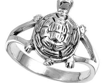 Women Sterling Silver Turtle Ring 7mm / Free Gift Box(SNRP140805)