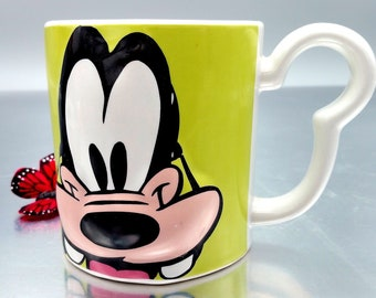 Monogram Disney Goofy Coffee Cup Lime Green Mug Raised Face (3D) Upside Down Goofy Name with Mouse Ears Handle Name