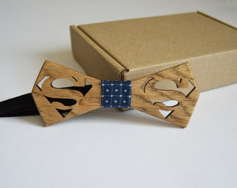 Wood Bow Ties superman, wooden bow tie, wood bow tie,groomsmen gift, Wedding Bow Tie, Wood Bow Ties
