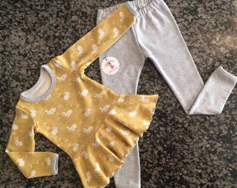 bunny infant set - baby baby set - bunny peplum top - organic cotton bunny top - take me home - bunny set - cute baby bunnies - peplum top