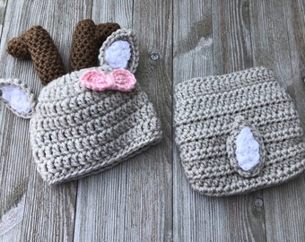 Adorable deer hat and diaper cover photo prop for that special new baby.