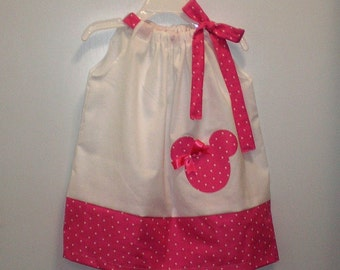 Pink Polka dot Minnie Mouse applique Dress, Childrens Dress, Party Dress