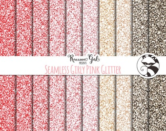 Seamless Girly Pink Glitter Digital Paper Set - Personal & Commercial Use